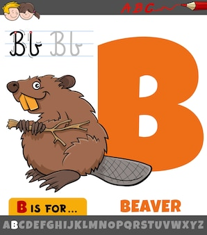 Letter b from alphabet with cartoon beaver