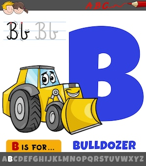 Letter b from alphabet with cartoon bulldozer