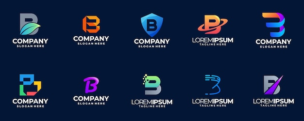 Letter b gradient logo collection