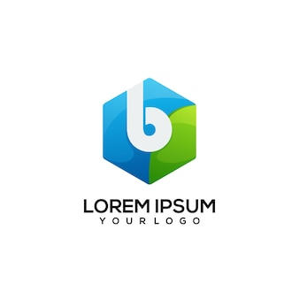 文字b六角形のロゴのカラフルなイラスト