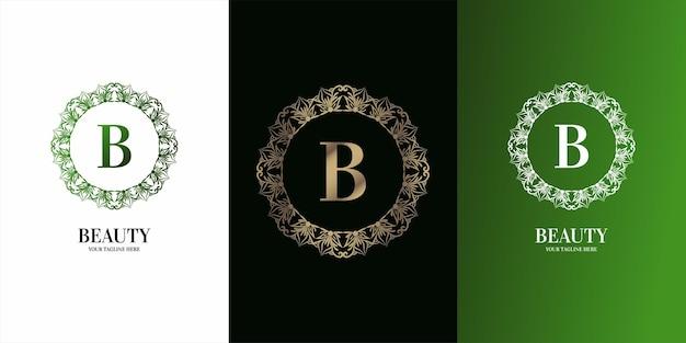 고급 장식 꽃 프레임 로고 템플릿이 있는 문자 b 초기 알파벳입니다.