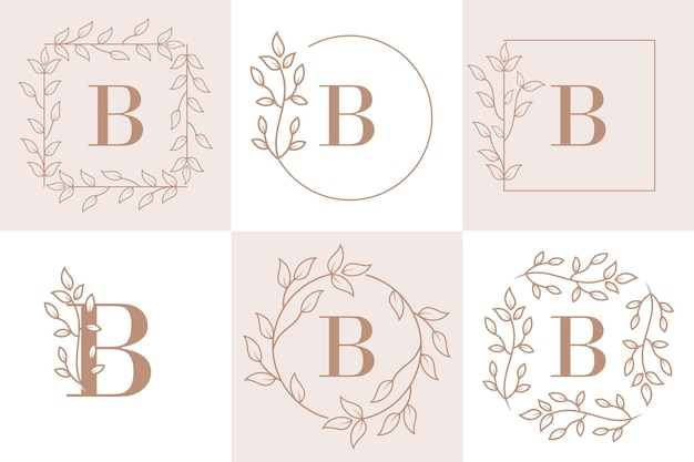 Letter b initial with floral frame template