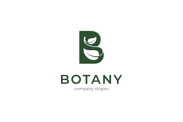 Letter b leaf botany logo