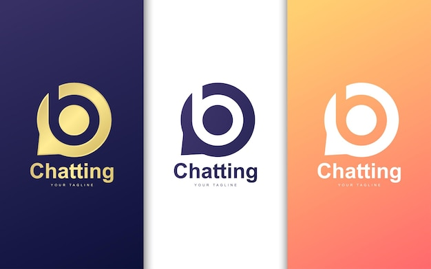 Letter b logo in bubble chat. modern chatting logo concept