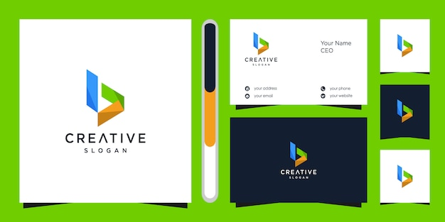 Letter b logo  and business card.