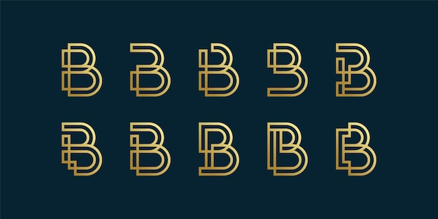 Letter b logo collection with golden gradient line art style, initial, letter