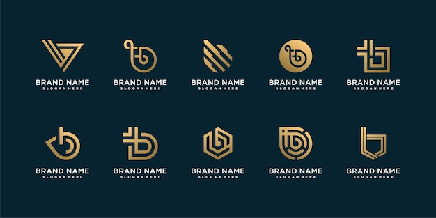 Letter b logo collection with modern golden style