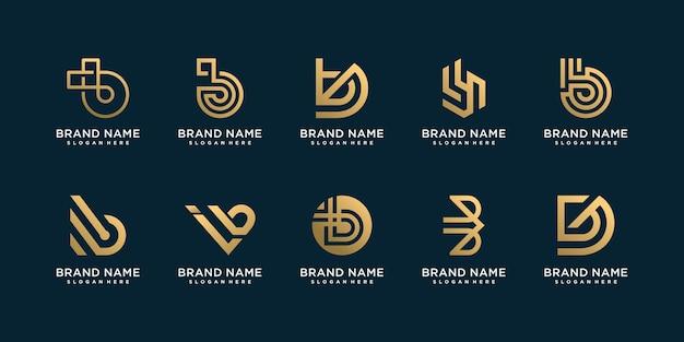 독특한 스타일의 문자 b 로고 컬렉션 premium vector