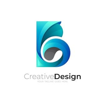 文字bロゴデザインテンプレート、bロゴと波のアイコン