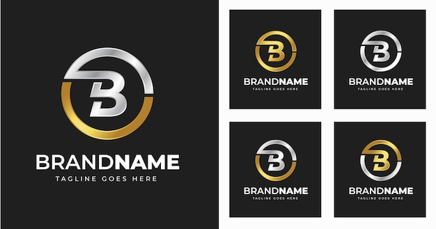 원형 모양 스타일로 문자 b 로고 디자인 서식 파일