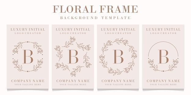 Буква b дизайн логотипа с цветочным шаблоном кадра