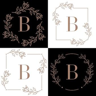 Letter b logo design with orchid leaf element