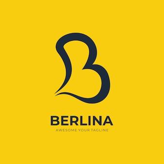 문자 b 로고 현대적인 그라데이션 색상