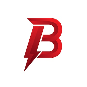 Letter b logo power red