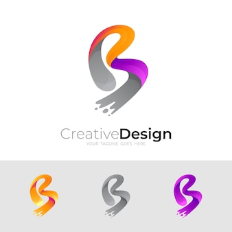 Letter b logo and swoosh design illustration, colorful icons