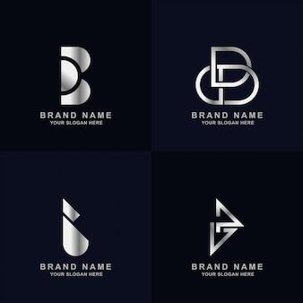 Коллекция шаблонов логотипа буква b с элегантным серебристым цветом