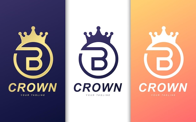 Letter b logo template in crown. simple king logo concept