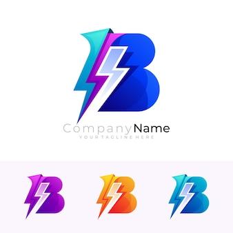 Letter b logo and thunder design combination, blue color