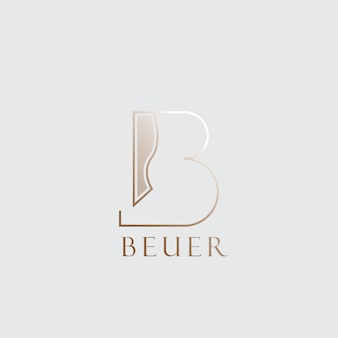 Letter b logo vector with gold color