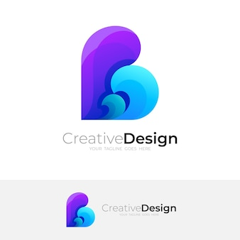 Letter b logo and wave design combination