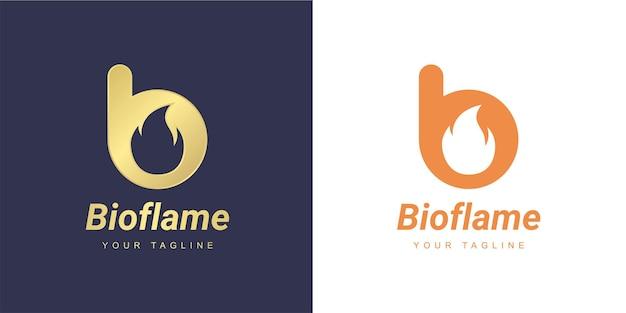 ミニマリストの火または炎の概念を持つ文字bのロゴ