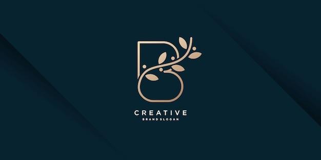 Буква b логотип с креативной концепцией для бизнес-салона красоты премиум векторы