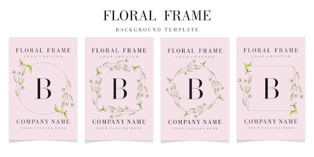 Letter b logo with floral frame background template
