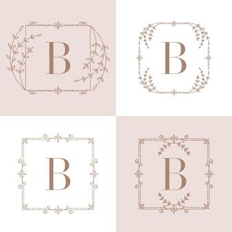 Letter b logo  with floral frame
