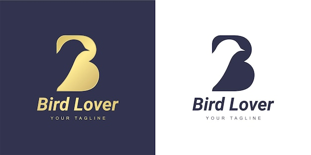 Letter b logo with a minimalist  dove  or  bird  concept