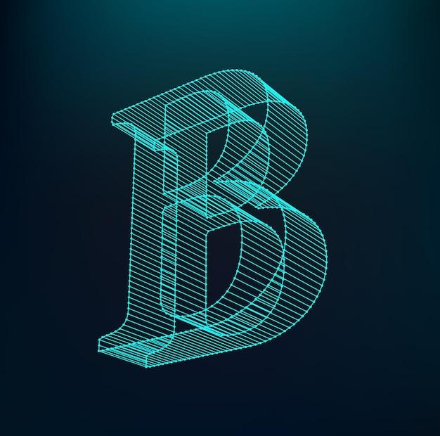 Letter b logotype. neon alphabet