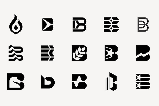 Letter b logotype set collection