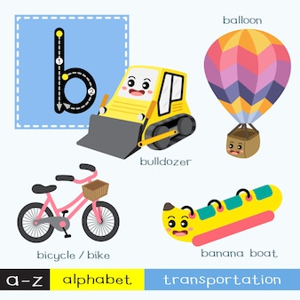 Letter b lowercase tracing transportations vocabulary