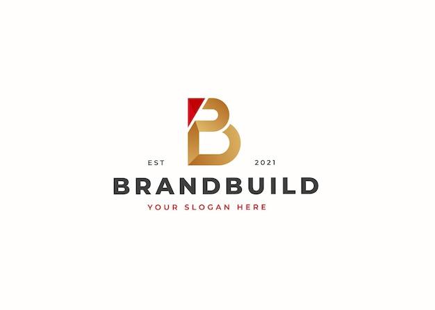 文字bの豪華なロゴデザインテンプレート。ベクトルイラスト