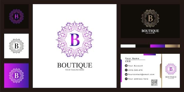 편지 b 럭셔리 장식 꽃 프레임 로고 템플릿 디자인 명함.