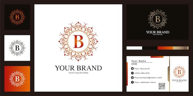 명함이 있는 편지 b 고급 장식 꽃 프레임 로고 템플릿 디자인.