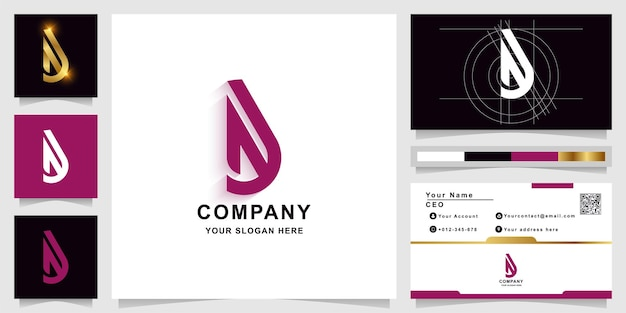 Letter a or b monogram logo template with business card design