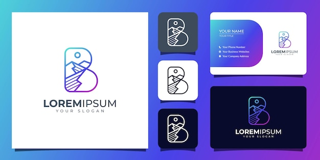 Letter b and mountain logo with business card template