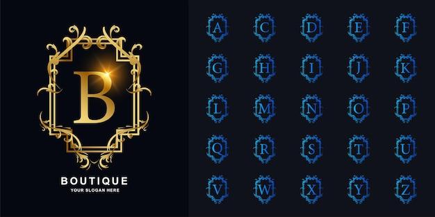 편지 b 또는 고급 장식 꽃 프레임 황금 로고 템플릿이 있는 컬렉션 초기 알파벳입니다.
