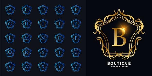 문자 b 또는 럭셔리 장식 꽃 프레임 황금 로고 템플릿 컬렉션 초기 알파벳.