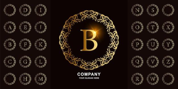 文字bまたは豪華な装飾の花のフレームの黄金のロゴのテンプレートとコレクションの最初のアルファベット。
