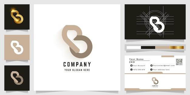 名刺デザインの文字bまたはpbモノグラムロゴ
