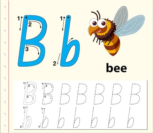 アルファベットワークシートをトレースする文字b