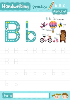 Letter b uppercase and lowercase tracing practice worksheet