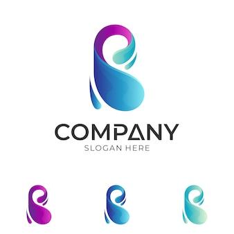 Letter b + water drop logo design