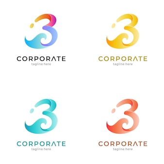 Letter b and wave logo template