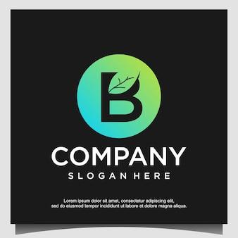 葉の緑の自然のロゴデザインの文字b