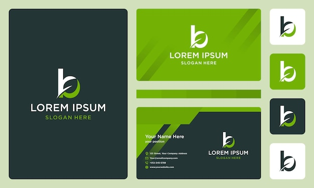 Буква b с листьями. шаблон оформления визитной карточки