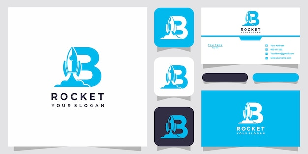 Letter b with luxury abstract rocket logo template