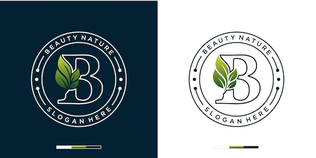 Letter b with luxury natural beauty logo template
