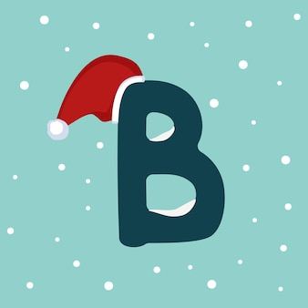 Letter b with snow and red santa claus hat. festive font for christmas and new year